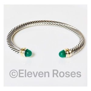 David Yurman Green Onyx Cable Cuff Bracelet